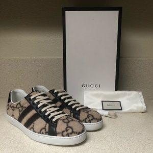 Gucci New Ace GG Logo Sneaker Beige 8.5G / 9.5 US